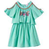 Toddler Girl Nannette Embroidered Cold-Shoulder Gauze Dress