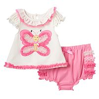 Baby Girl Nannette Embellished Butterfly Top & Ruffled Bloomers Set
