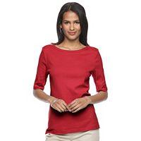 Women's Croft & Barrow® Button-Shoulder Tee