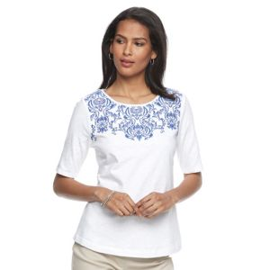 Women's Croft & Barrow® Embroidered Yoke Tee