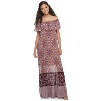 Juniors' Mason & Belle Mixed Print Off Shoulder Maxi Dress