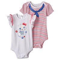 Baby Girl Baby Starters 2-pk. Kitty Graphic & Striped Bodysuits
