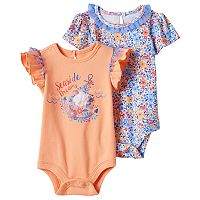Baby Girl Baby Starters 2-pk. Graphic & Floral Bodysuits