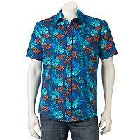 Men's Ocean Current Tropical Print Button-Down Shirt
