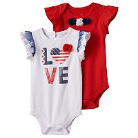 Baby Girl Baby Starters 2-pk. Patriotic Bodysuits