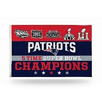 New England Patriots Five Time Super Bowl Champions Flag