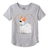 Girls Plus Size The Secret Life of Pets Max & Gidget Glitter Heart Graphic Tee
