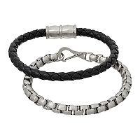 1913 Men's Stainless Steel Box Chain & Braided Black Leather Bracelet Set