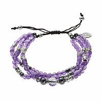 love this life Purple Agate Bead & Crystal Multi Strand Bracelet