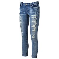 Juniors' Almost Famous Ripped Skinny Jeans