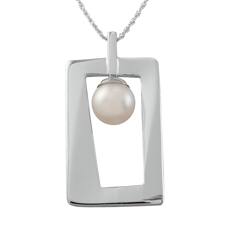 Sterling Silver Freshwater Cultured Pearl Rectangle Pendant