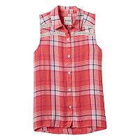 Girls 7-16 Mudd® Sleeveless Button-Down Plaid Shirt