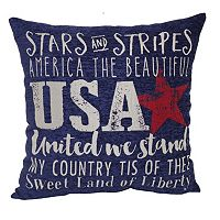 Brentwood Americana Sentiment Chenille Tapestry Throw Pillow