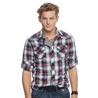 Men's Rock & Republic® Plaid Stretch Twill Button-Down Shirt