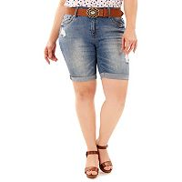 Juniors' Plus Size Wallflower Luscious Curvy Ripped Bermuda Shorts