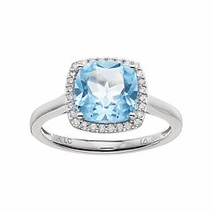 LC Lauren Conrad 10k White Gold Blue Topaz & 1/8 Carat T.W. Diamond Cushion Halo Ring by