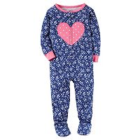 Baby Girl Carter's Print Applique Footed Pajamas