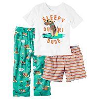 Toddler Boy Carter's Graphic Tee, Striped Shorts & Print Pants Pajama Set