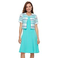 Women's Perceptions Chevron Dress & Jacket Set