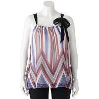 Juniors' Plus Size HeartSoul Woven Chevron Print Tank