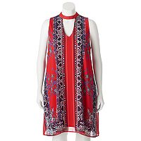 Juniors' Plus Size HeartSoul Print Choker Neck Dress