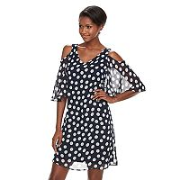 Women's Connected Apparel Cold-Shoulder Polka-Dot Dress