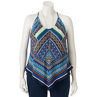 Juniors' Plus Size HeartSoul Print V-Hem Tank