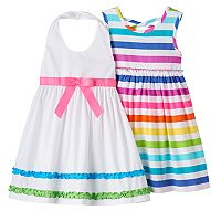 Toddler Girl Blueberi Boulevard Halter Dress & Striped Dress Set