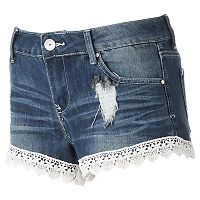 Juniors' Almost Famous Crochet Hem Shortie Jean Shorts