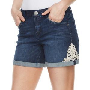 Women's ReCreation Lace Textured Technology Denim Shorts