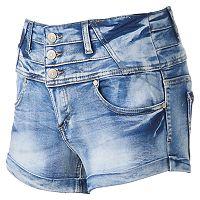 Juniors' Almost Famous 3-Button High-Rise Shortie Jean Shorts