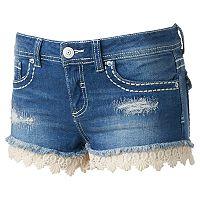 Juniors' Almost Famous Crochet Hem Shortie Shorts