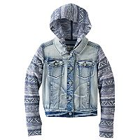 Girls 7-16 & Plus Size Mudd® Knit Hooded Denim Jacket