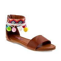 Josmo Girls' Pom-Pom Ankle Cuff Sandals