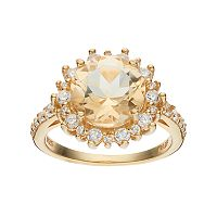 14k Gold Over Silver Citrine & Cubic Zirconia Sunburst Ring