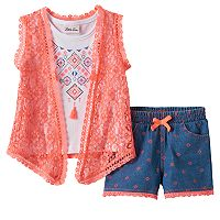 Toddler Girl Little Lass Tassel Tank Top, Lace Vest & Printed Shorts Set