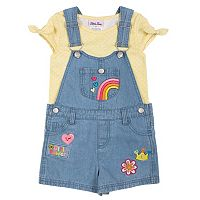Toddler Girl Little Lass Print Tee & Patch Denim Shortalls Set