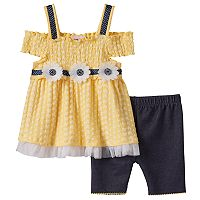 Toddler Girl Little Lass Cold-Shoulder Smocked Top & Shorts Set