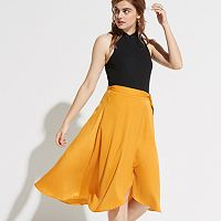 k/lab Wrap High-Low Satin Skirt