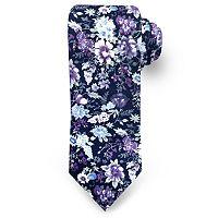 Men's Rooster Scattered Flowers Floral Tie