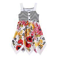 Baby Girl Blueberi Boulevard Striped & Floral Hanky Hem Dress