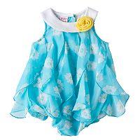 Baby Girl Blueberi Boulevard Floral Waterfall Chiffon Sunsuit