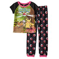 Girls 6-14 Pokémon Pikachu, Eevee & Jigglypuff Tee & Pokeball Bottoms Pajama Set