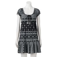 Juniors' Almost Famous Print Smocked Babydoll Dress