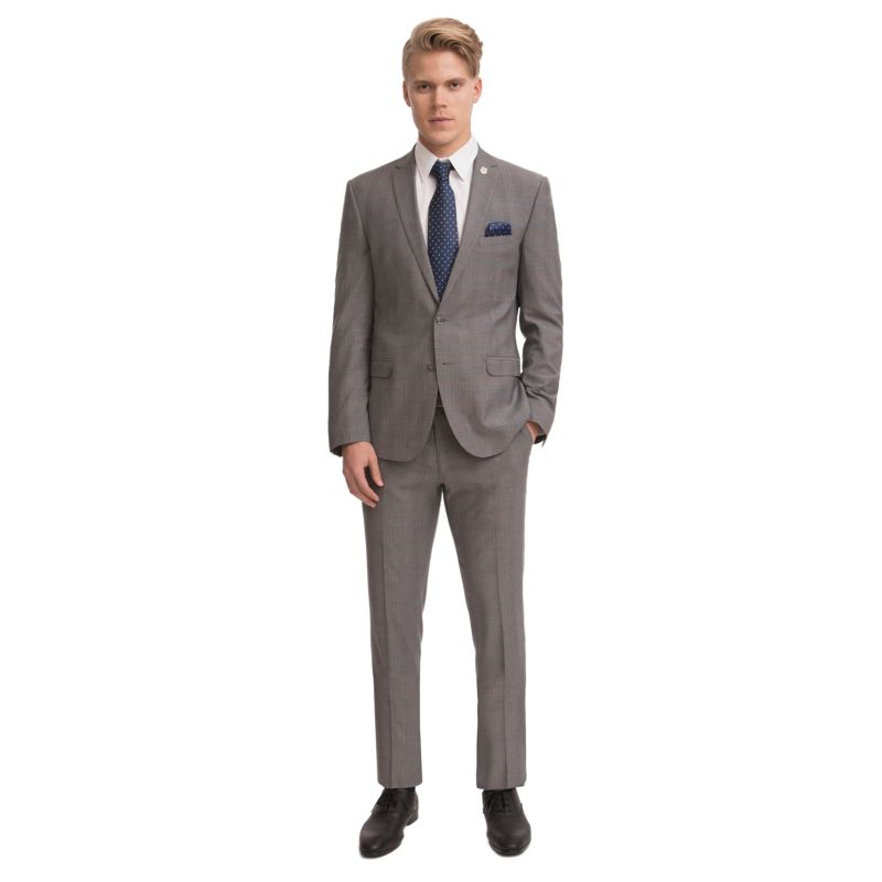 Men's Nick Dunn Slim-Fit Unhemmed Suit, Size: 42L 35, Med Grey thumbnail