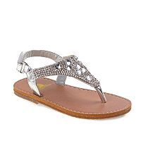Rugged Bear Toddler Girls' Rhinestone Slingback Sandals