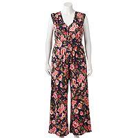 Juniors' Plus Size Wrapper Wide Leg Floral Print Jumpsuit