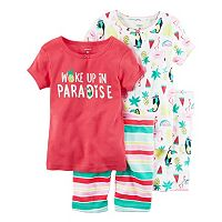 Toddler Girl Carter's 4-pc. Tee & Shorts Pajama Set
