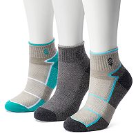 Women's Free Country 3-pk. Colorblock Wool-Blend Quarter Socks