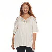 Plus Size French Laundry Cold-Shoulder Shark-Bite Top